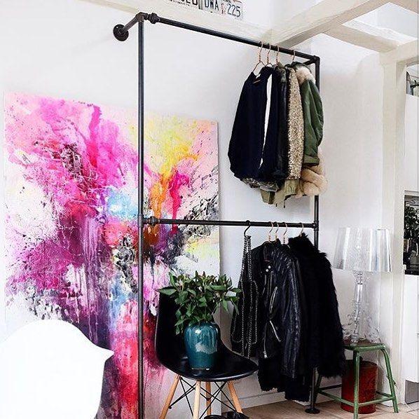 This is our Bob Steele clothing rack in a small apartment in Copenhagen • Bob Steele is perfect if you have a lot of clothes and limited space  @nynnerasmussen #rackbuddybobsteele #clothesrack #kleiderständer #kleiderstange #tøjstativ #industrialdesign #stylish #copenhagen #scandinavia #interiordesign #wardrobe #garderobe #blackiron #coolstuff #interiorforyou #interior4all