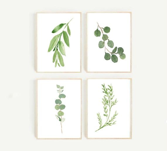 Botanical Prints Set Of 4 Prints Watercolor Leaves Printable