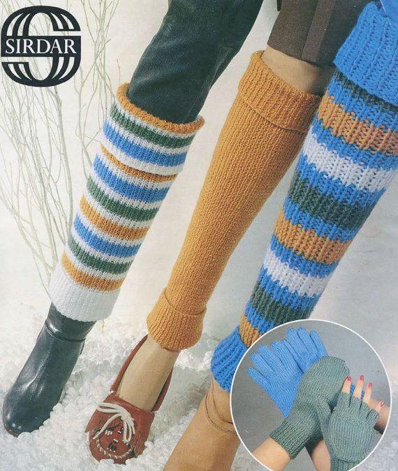 PDF of vintage Sirdar knitting pattern gloves leg by Cyclopaedia, £2.00