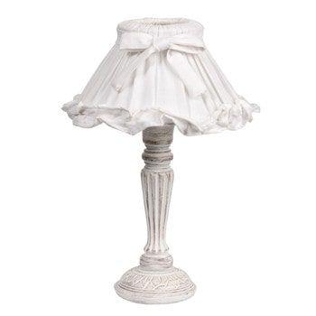 Houten SONNET bedlamp met witte stoffen lampenkap H 38 cm
