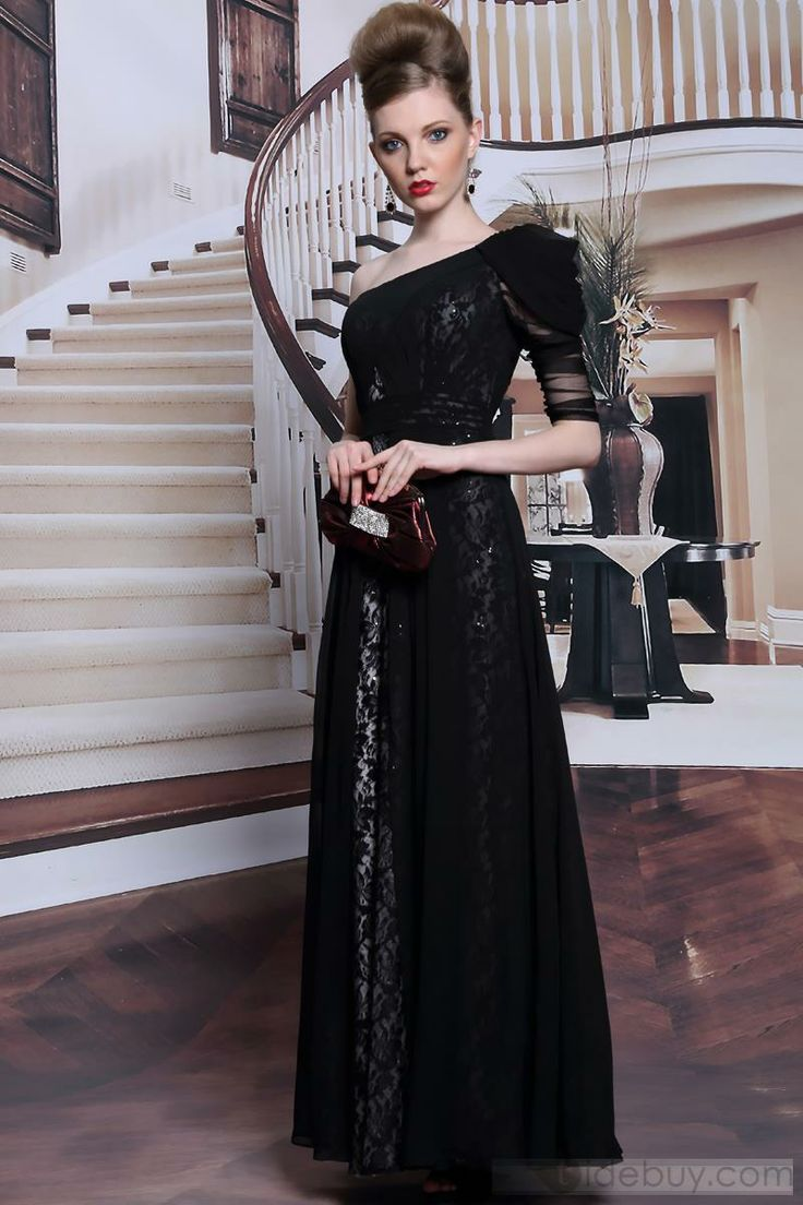 Gorgeous Lace Beading One-Shoulder Half Sleeve A-Line Floor Length Evening Dress
