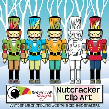 Nutcracker Clip Art. There are 4 different colored Nutcracker Clip Art as well as a black and white version.  Each image is 8 inches tall.  Nutcracker Clip Art by RebeccaB Designs.You will find my Winter background scenes using the following link:{Background Scenes Winter}My graphic designs are produced at 300dpi and in .JPEG or .PNG(transparent background) format unless otherwise stated.