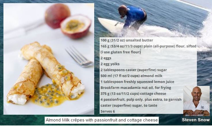 Recipe Almond Milk Crepes with Passionfruit and Cottage Cheese