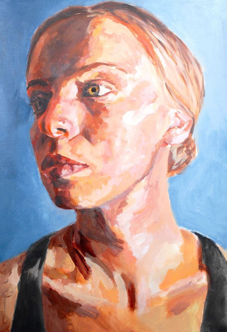 Imogen's AS exam painting of her sister.  Acrylic paint on oil painting paper. Much time spent on lighting, composition, preparation and colour mixing.