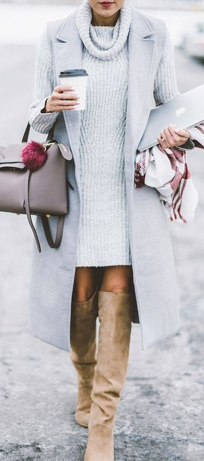 knit dress. sleeveless coat. high boots. street style.