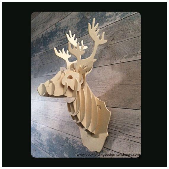 Wooden Deer Head Trophy wall mounted Deer Head Deer by TheGiftPage