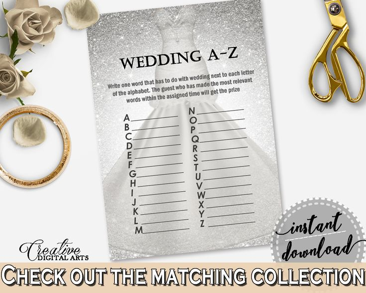 Silver And White Silver Wedding Dress Bridal Shower Theme: Wedding A-Z Game - grammar game, wedding sparkle, party decorations - C0CS5 #bridalshower #bride-to-be #bridetobe