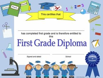 First Grade Diplomas Certificates Graduation Invitations