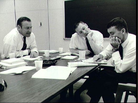 The crew of Apollo 13, Jim Lovell, Jack Swigert and Fred Haise, during a post-flight debriefing.