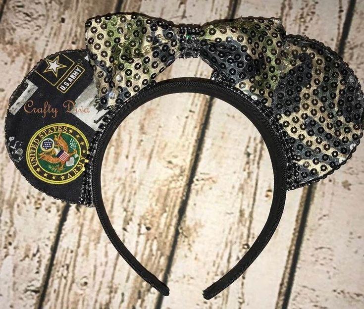 United States Army Minnie/Mickey Mouse Handmade Headband  #Handmade. Handmade by Evalani Reitenbaugh AKA Crafty Diva. https://www.facebook.com/CraftyDivaTrendyBoutique