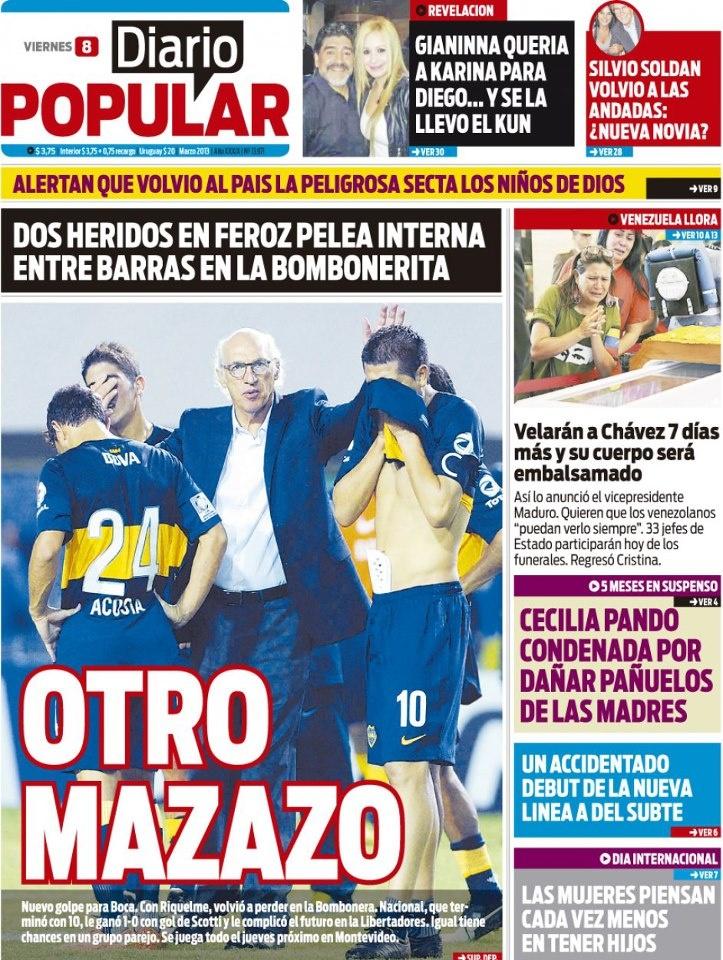 ¡Llegó el viernes! Comenzamos la jornada con la tapa de la edición impresa de Diario Popular. Se destaca, obvio, la caída de Boca en la Copa Libertadores. ¿Qué les pasa a los muchachos del Virrey? Toda la info, en nuestra web --> http://www.diariopopular.com.ar/