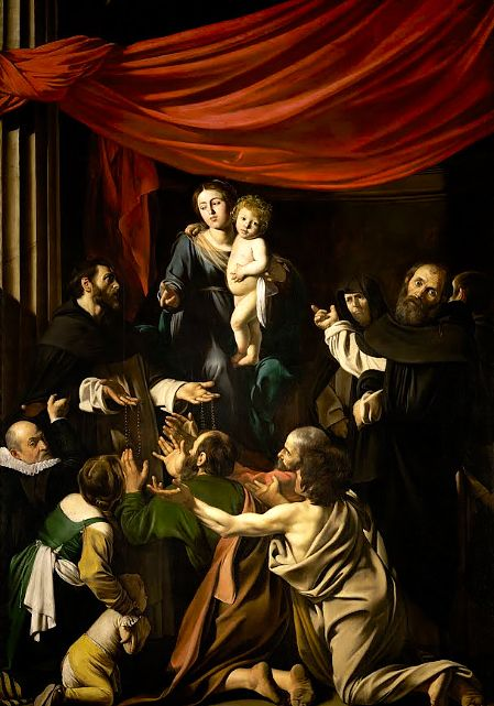 Michelangelo Caravaggio, Madonna of the Rosary (1605 - 1607) on ArtStack #caravaggio #art More