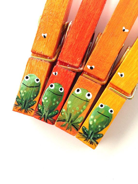 Clothespins arent just for hanging clothes anymore! These frog family clothespins make a great one-of-a-kind special gift for your childs teacher or kids birthday party favor!    HERE ARE JUST SOME OF THE WAYS WE LIKE TO USE THEM:    *hang childrens artwork, photos on a ribbon. *Organize your calendar, desk area or locker. *Clip a gift card onto a wrapped package. *Seal an opened chip bag. *Clip onto a place card at a dinner setting. *Hand out clipped to party favor bags...the possibilities…