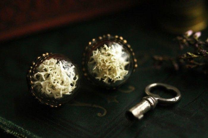 terrarium earrings Moss glass brass handmade