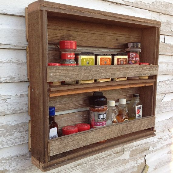 Rustic Kitchen Spice Rack Reclaimed Wood Shelf By