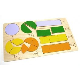 Educational toy in the form of puzzles that help children understand fractions. Set contains following puzzles: 2x1, 4x1/2, 6x1/3, 8x1/4. Made by Neo-Spiro.