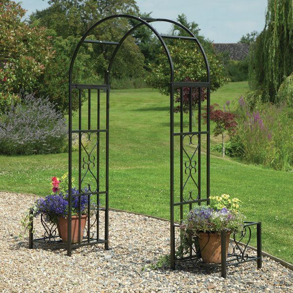 Ornamental Arch With Planters Is Made From A Sturdy Steel Frame