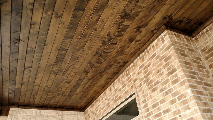 Sherwin Williams weathered teak on pine for front porch and patio ceilings.