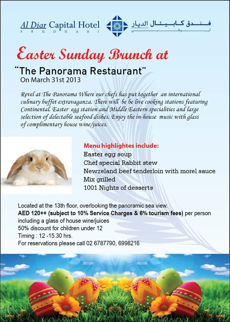 Easter Sunday Brunch at The Panorama Restaurant in Al Diar Capital Hotel.