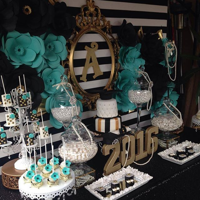 Had to share again  this Dessert Table styled by @irenespartycreations loved the pearls and Black with Gold & Tiffany Blue. Follow her page to see more of her work.…