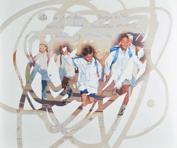 """""""La Salida del Cole"""" . acrílico sobre lienzo . 110x130cm . (2011) de Claudio Gallina, pintor argentino"""