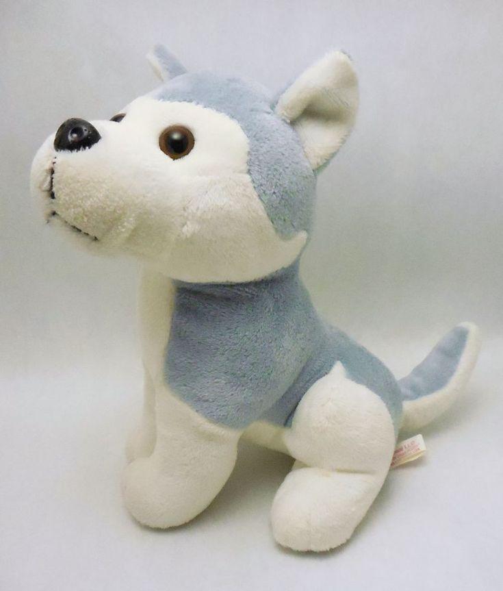 Mardi Gras Plush Appeal Husky Dog, wolf,  gray & white stuffed animal #MardiGrasPlushAppeal