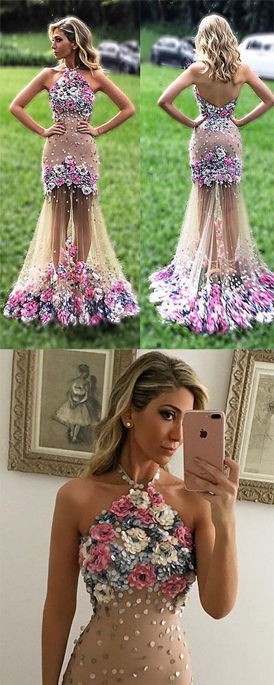 Unique tulle applique flower long prom dress, formal dress, evening dress for teens,402