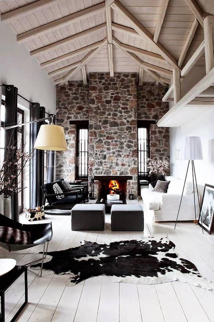 Rustikalle Wohnzimmereinrichtung Steinwand Ideen