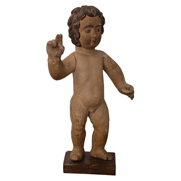 Carved wood sculpture of the baby Jesus, Spain, circa 1800