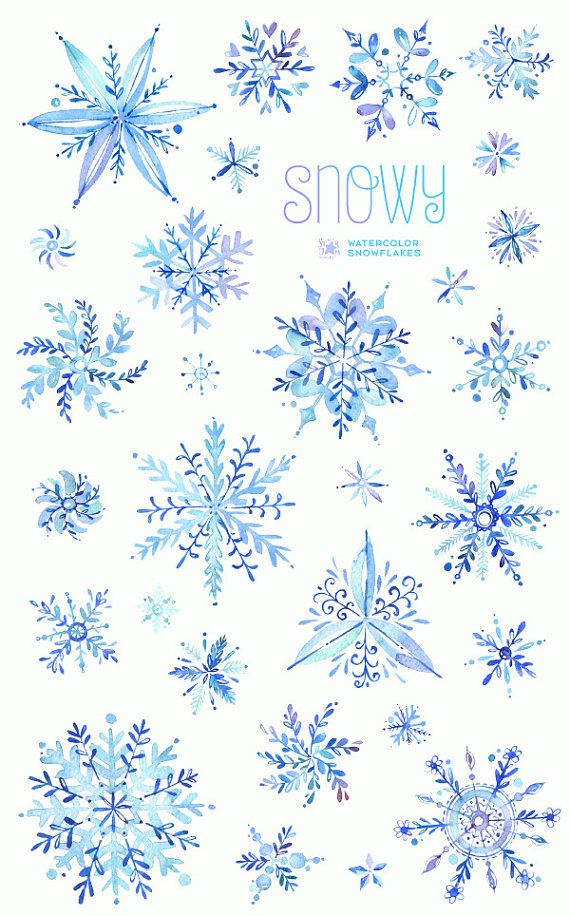 Snowy. Watercolor winter clipart, snowflakes, christmas, holiday, invitations, greeting card, diy, decoration, merry, blue, png