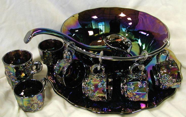 Black Amethyst Carnival Glass Paneled Grape Punch Set L.G. Wright in Pottery & Glass, Glass, Glassware | eBay