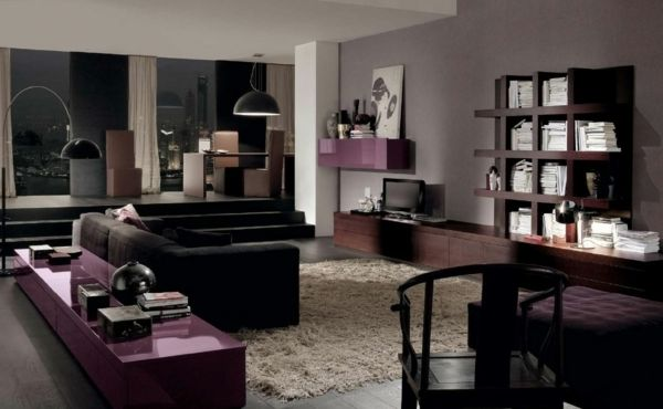 Elegantes wohnzimmer lila braun beige schwarz Wohnzimmer Pinterest