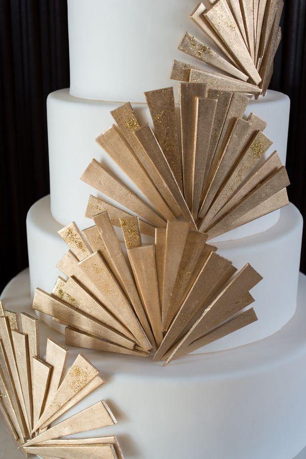 Glamorous Gold Art Deco Wedding Cake by Ana Parzych   Carla Ten Eyck Photography