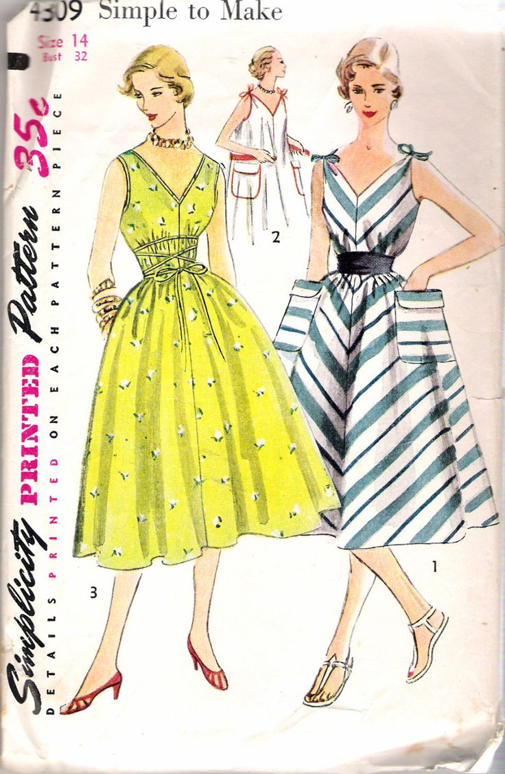 """Vintage 1953 Simplicity 4309 Jiffy Dress Mother & Daughter Fashion Sewing Pattern Size 14, Bust 32"""" UNCUT by Recycledelic1 on Etsy"""