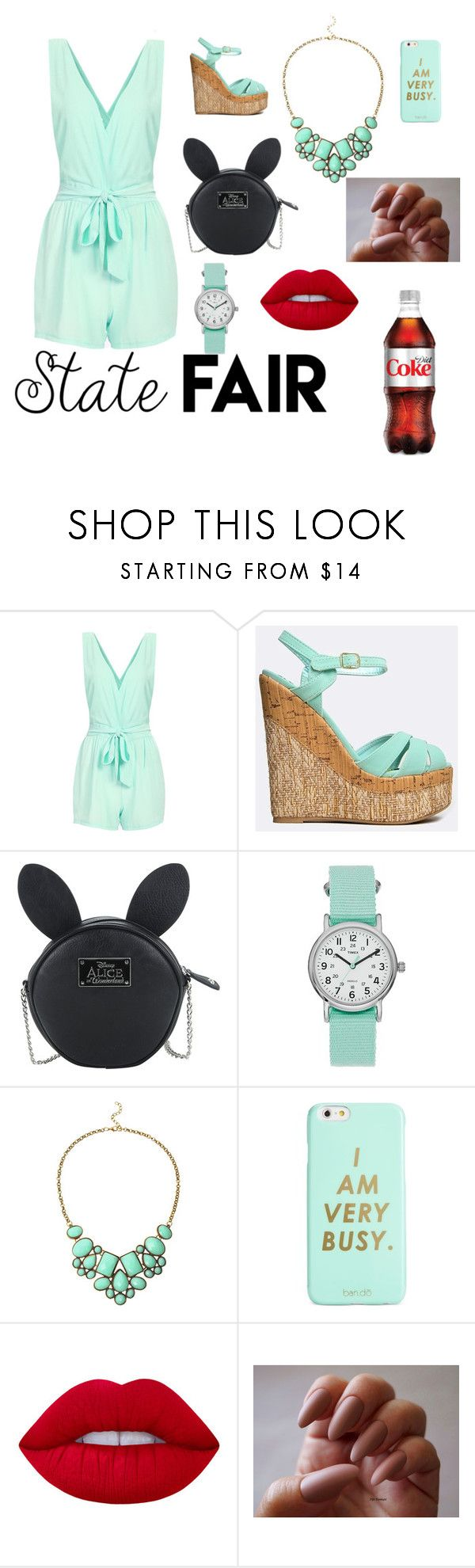 """State Fair Outfit"" by fisherforever ❤ liked on Polyvore featuring Qupid, Disney, Timex, ban.do and Lime Crime"