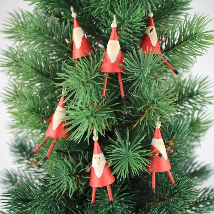 Mini Father Christmas Decoration Pack Of Six