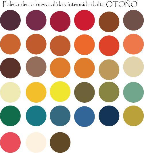 Paleta de colores calidos con intensidad alta OTOÑO