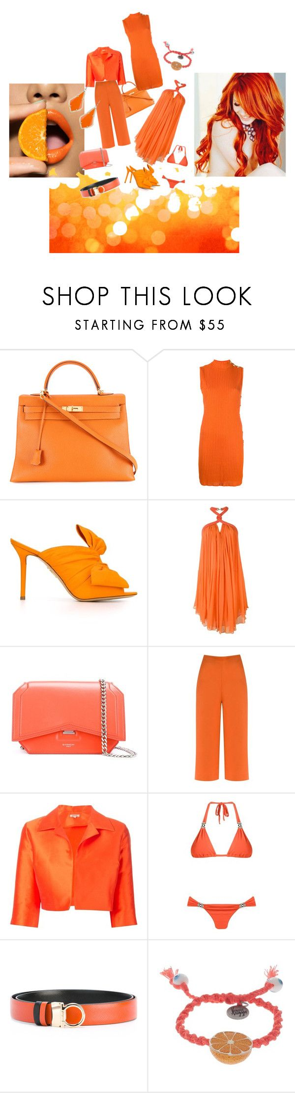 """Pulpy Orange..**"" by yagna ❤ liked on Polyvore featuring Hermès, Balmain, Charlotte Olympia, Jay Ahr, Givenchy, Andrea Marques, P.A.R.O.S.H., SUB, Salvatore Ferragamo and Venessa Arizaga"