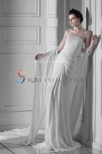 Robe de mariée moderne chiffon sans bretelle ruches traîne watteau