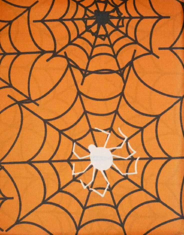 Nip Halloween Glow In The Dark Orange Shower Curtain W Spiders & Webs 70 X 72