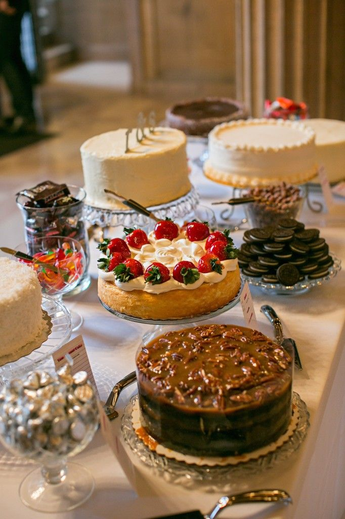 Instead of a traditional dessert table, this couple picked their favorite cakes from all over the city to share | Minneapolis Jewish Wedding by Erin Johnson Photography