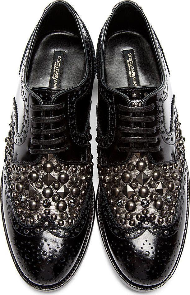 Dolce & Gabbana - Black Stud & Crystal Accent Brogues   SSENSE