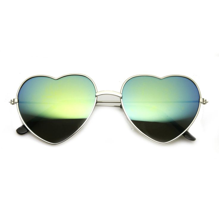 Women's Thin Metal Heart Shape Frame Revo Mirrored Lens Sunglasses 9564
