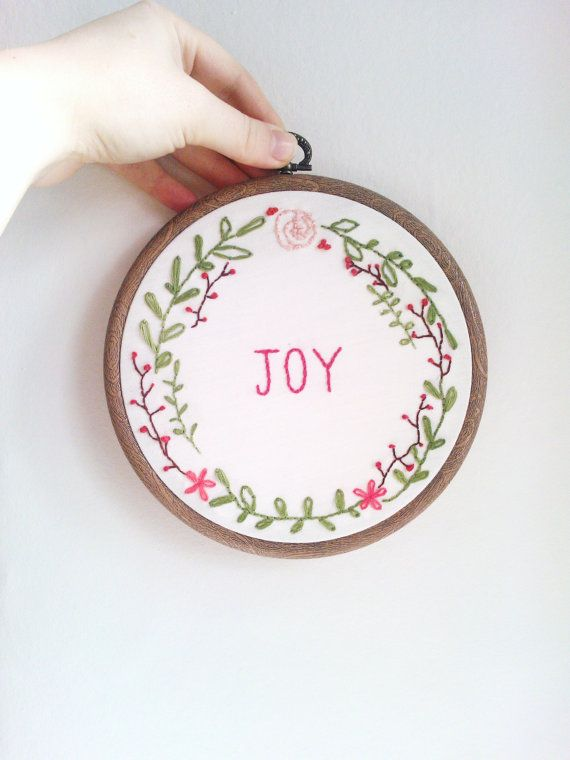 Embroidery Hoop  JOY Christmas wreath by kitsnbits on Etsy, £25.00