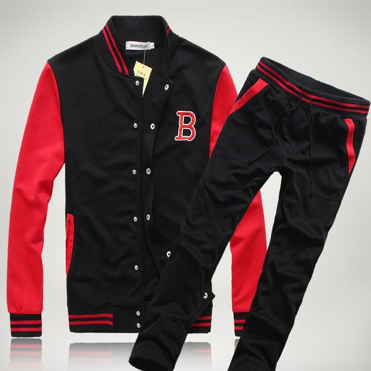 2PC/Sets-sport suit hot!Unisex suit Vintage London fashion Outdoor sportswear men suit Biker Jacket sport long pants sports suit