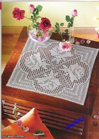 Tischdecke Rosen häkeln - crochet doily