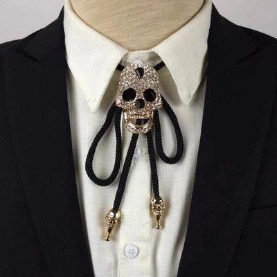 Louisiana Skull Diamond Bolo Tie