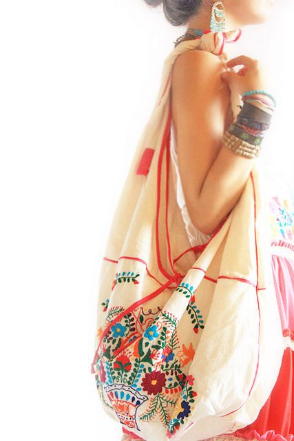 Mexican embroidered bag    *bohemian, gypsy, textile, satchel, purse, hobo