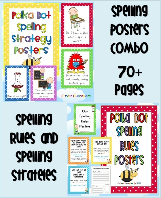Spelling Rules and Spelling Strategies COMBO Bundle Polka Dot Theme 70 + pages    This download includes two of our spelling posters in one file. You get our spelling rules and our spelling strategies posters with more than 10% discount with this bundle. For grades 2-6 $ http://www.teacherspayteachers.com/Product/Spelling-Rules-and-Spelling-Strategies-COMBO-Bundle-Polka-Dot-Theme-74-pages