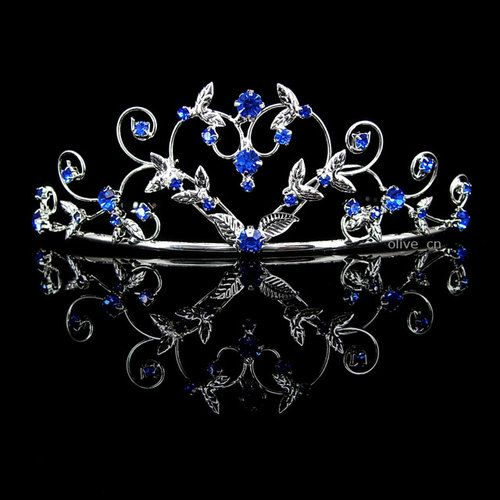 4cm High Heart Sapphire Blue Wedding Bridal Bridesmaid Prom Party Crystal Tiara   eBay